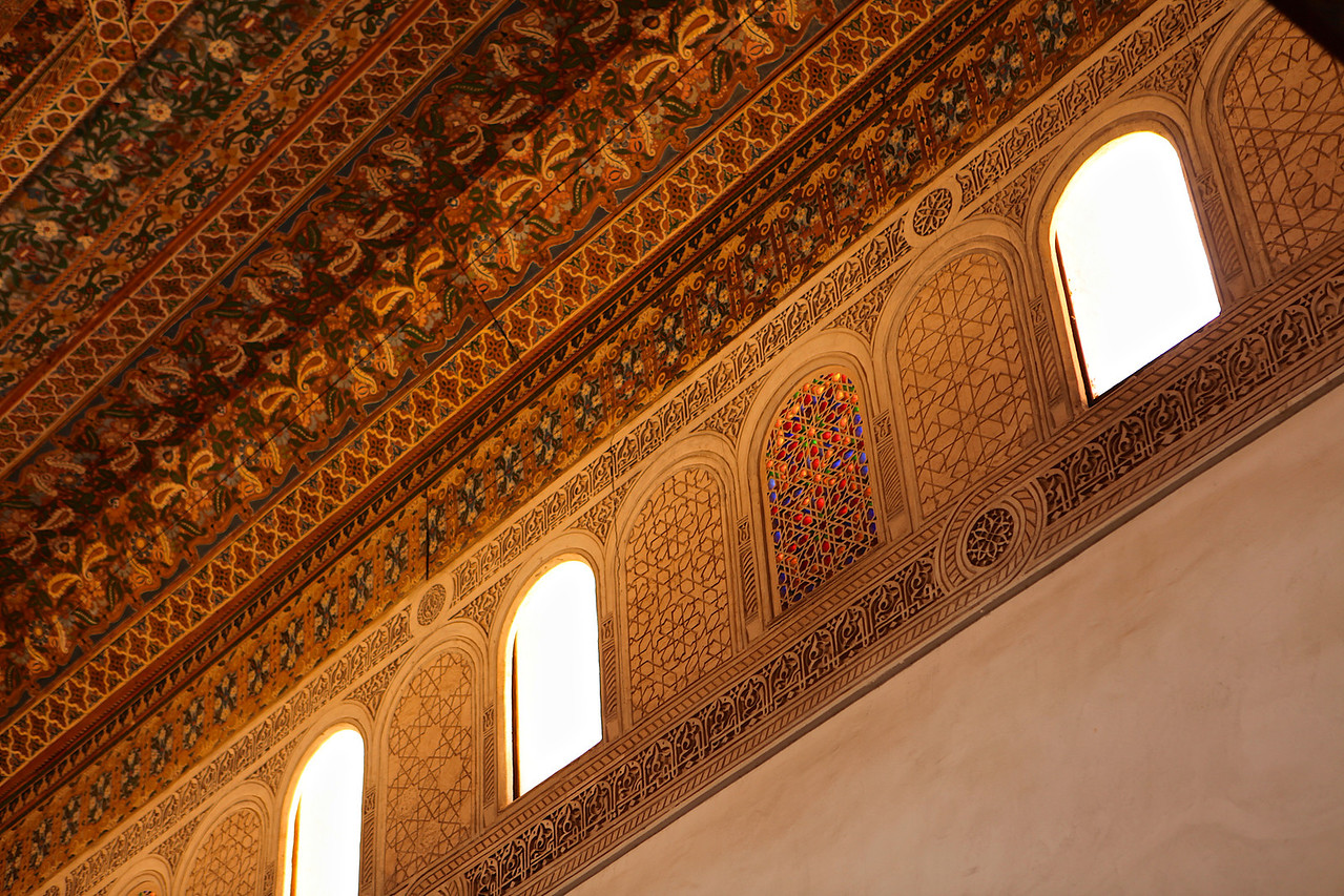 In some of the rooms, the stucco work, along with the ornate ceilings and stained glass windows show the detail put into construction.