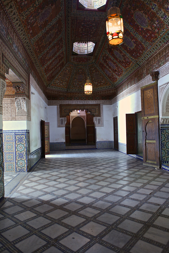 Materials for the decoration of the Bahia Palace were sourced from all over North Africa. Marbles were likely originally quarried in Carerra, Italy, and may have been previously decorated other palaces. Cedar for the painted ceilings of the palace apartments was ordered from the Mid-Atlas region, and glazed terracotta tiles came from Tetouan. Artisans from across North Africa and Andalusia were employed in the construction of the palace.
