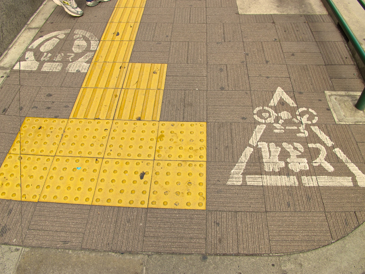 Bicyclists in Tokyo can ride on the sidewalk.  While it looks by the markings that it's clear where they should be and where pedestrians should be, it's not done that way.