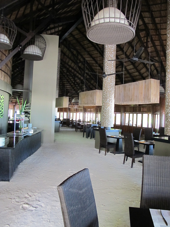 There are 3 restaurants at the resort.  Two are open every day and the third is open two nights a week.  This is the main restaurant on the island.  WIth sand floors, you never have to wear shoes.