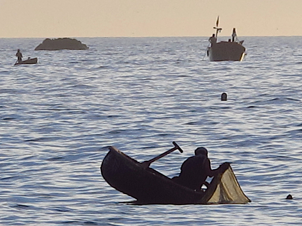 The round boats they use are small and many of the fisherman can't swim.