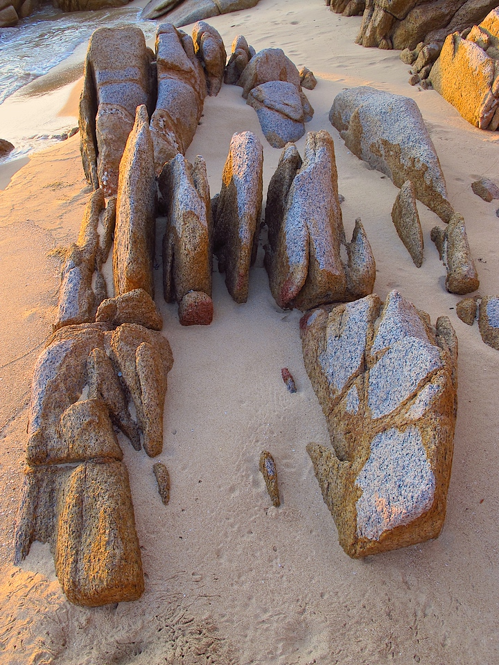 Erosion over the years makes for some interesting shapes of large boulders along the beach.