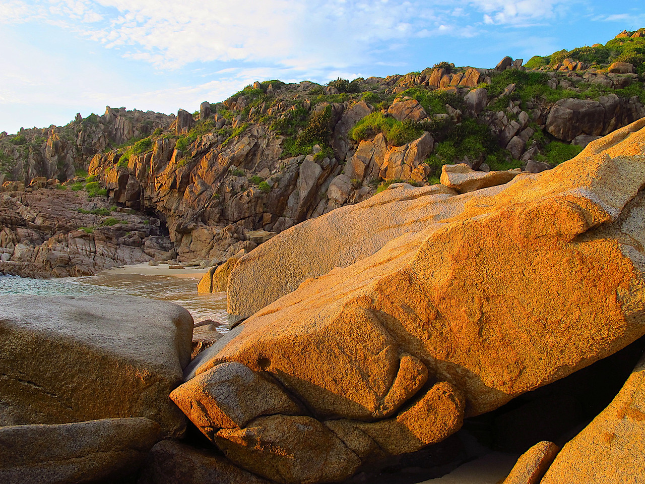 This area of coastline in Vietnam is made largely from granite.
