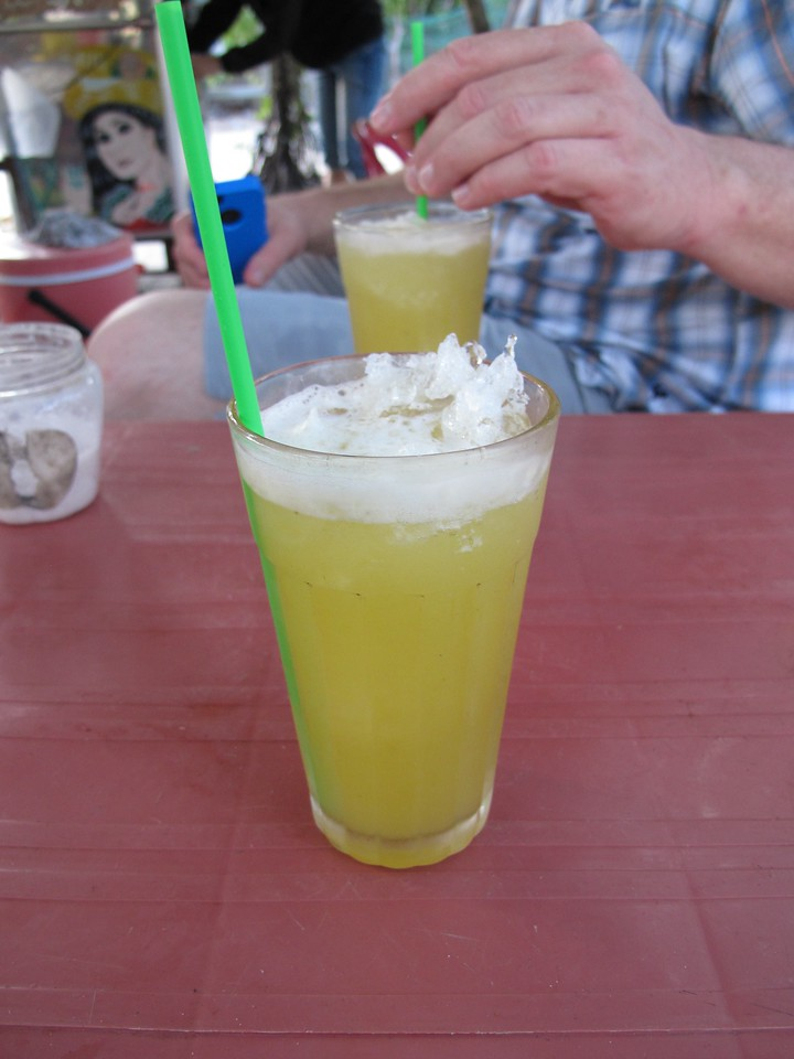 In the end, you add a little ice and voila.  You have Nouc Mia.  Locals also add a pinch of salt to cut the sweetness a bit.  But, it's a great drink on a hot afternoon.