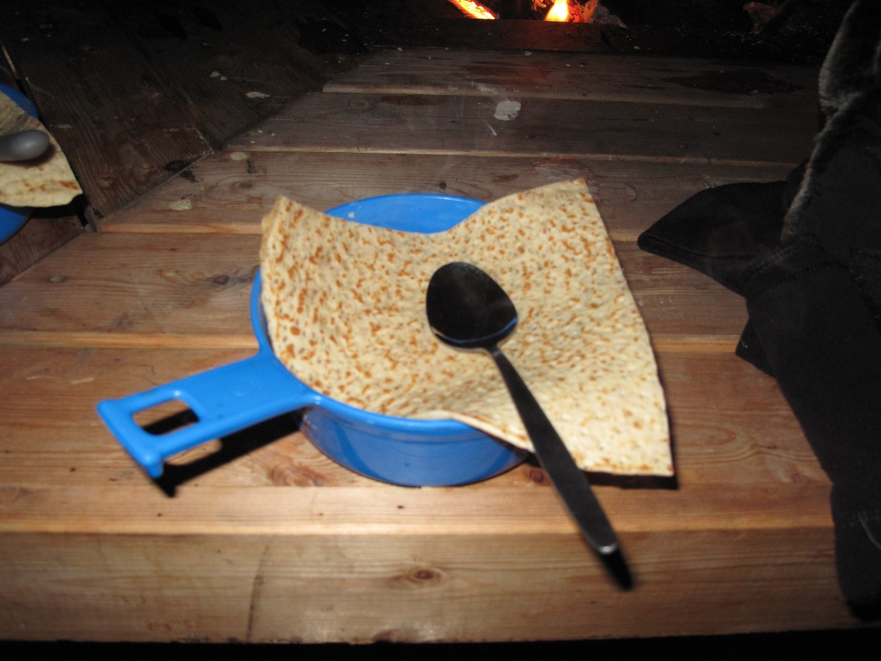 Along with the stew, we'll hae some lefse or unleavened bread.