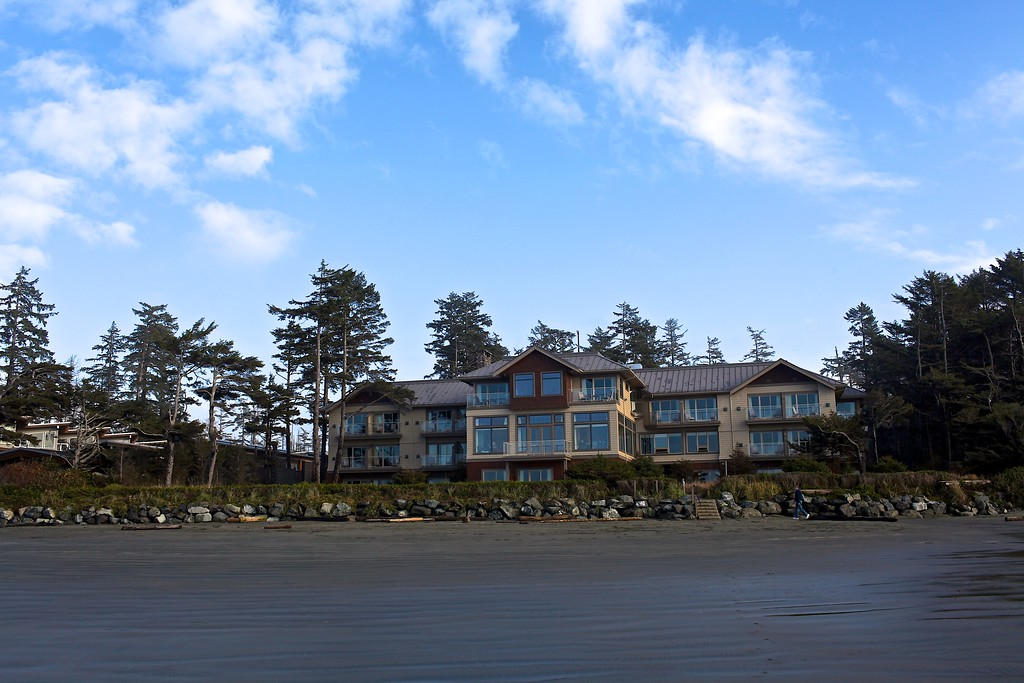 A look back at the Long Beach Lodge from the beach.